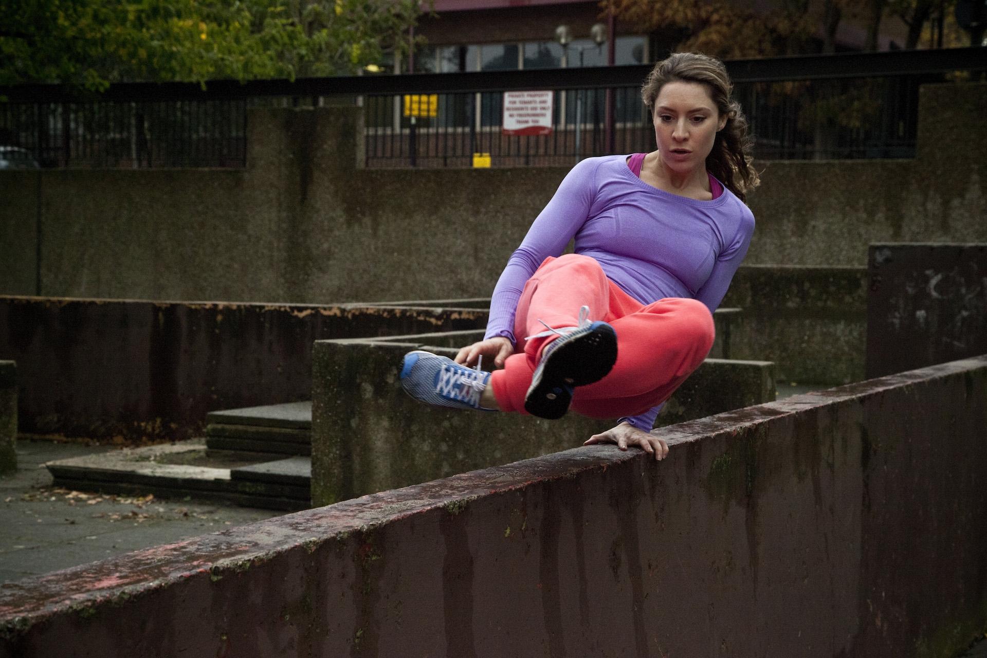 Amy slide monkey parkour woman london